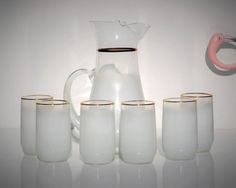 Vintage Blendo Set Pitcher and 6 Glasses Frosted by FabsAndFaves