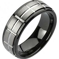 $21 - Tungsten Men's Brilliant Grooved Stripe Comfort Fit Band Ring Sz 9-13