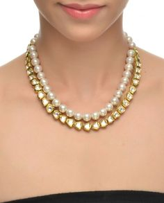 Pearl-Kundan String Necklace #Jewelry #Fashion #New #Stones #Studded #Ethnic #Indian #Traditional