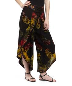 Another great find on #zulily! Black & Red Paisley Dhoti Pants by The OM Company #zulilyfinds
