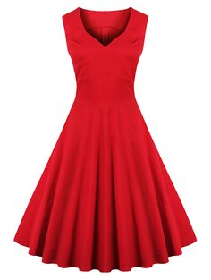 Vintage Women's Sweetheart Collar Pure Color Flare Dress