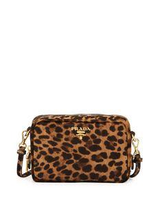 Prada Leopard Print Calf Hair Mini Crossbody Bag