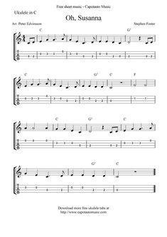 Free Sheet Music Scores: Oh, Susanna, free ukulele tablature sheet music