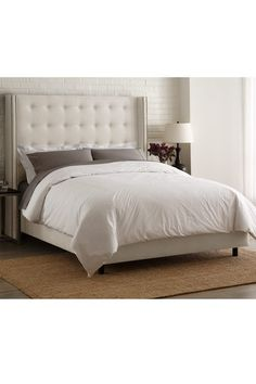 Nail Button Tufted Wingback Bed - Linen Talc on HauteLook