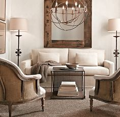 Restoration Hardware Living Room... love the chandelier and clean lines