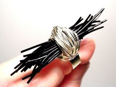 #ring, #black, #elastic, #wire, #handmade