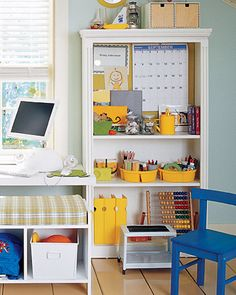 Kid's workspace organization. A clever way to keep school supplies, art supplies, and other clutter off the desk, but still organized and close at hand.