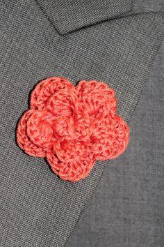 Crochet Mens Lapel Accent Flower Buttonhole by LittleMonkeyShop, $7.50 - Coral