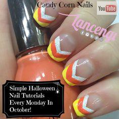 Easy Halloween Nail Art Designs -Candy Corn Nails 2014 Lancengi + Video Tutorial