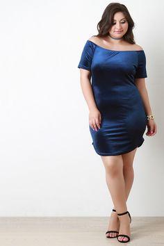 Velvet Rib Knit Off The Shoulder Mini Dress - Gioellia Boutique - 3