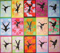 Benodigdheden: tekenpapier op A4 formaat passer kleurpotloden zwarte afdrukken van breakdancers wit naaigaren restjes wit papier schaar sni...