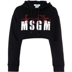 MSGM MSGM X Diadora branded hoodie ($270) ❤ liked on Polyvore featuring tops, hoodies, black, cropped hoodie, sweatshirt hoodies, cropped hooded sweatshirt, hooded pullover and long sleeve hoodie