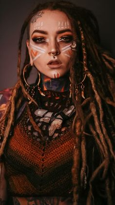 Tattoed Girls, Inked Girls, Girl Tattoos, Tattoos For Women, Tribal Makeup, Beautiful Dreadlocks, Beautiful Witch, Life Is A Gift, Look At The Sky