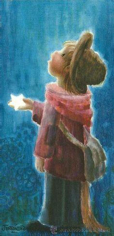 0982B - FERRÁNDIZ - HA CAIDO UNA ESTRELLA - L.1761.1 - EDICIONES SUBI - DIPTICA 21,5X10,5 CM APROX Vintage Christmas Cards, Vintage Cards, Wonderful Images, Beautiful Pictures, Ecole Art, Good Night Moon, Amazing Drawings, Illustrations, Whimsical Art