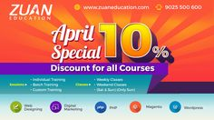 Avail 10% offer for all #IT Courses like #SEO #Digitalmarketing #wordpress #PHP #webdesigning #joomla #magento on this April.  Call: 9025500600 to book your seat!!