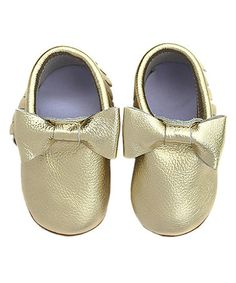 $19.99 This Gold Bow Anti-Skid Leather Moccasin is perfect! #zulilyfinds
