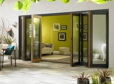 Ultra 16ft Grey Aluminium Clad Oak Folding Doors | Vufold