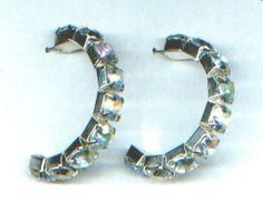 Creolen, Ohrringe, Ohrhänger - Ø 3,5 cm mit weißen Strasssteinen - nickelfrei