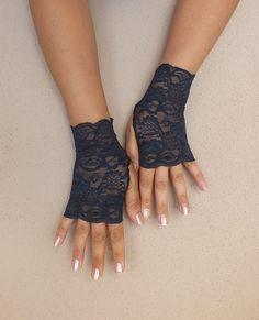Navy Blue lace gloves wedding glove steampunk by Worldofgloves, $23.00