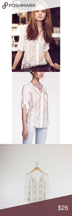 """Anthropologie Tiny Button Down Beaded Slub Buttondown by Tiny.  Tab-sleeved jersey top with wooden beads and embroidered front.  Cotton and silk.  In great used condition.  Size L.  Chest 19"""", length 28"""". Anthropologie Tops"""