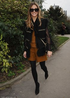 Autumnal in spring! Olivia Palermo looked stylish as she headed to the Chloe fashion show in Paris.