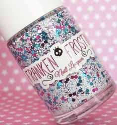 CUPCAKE FLUFF NAIL POLISH 0.5ozFrost your nails with this gorgeous nail lacquer from Franken Frosting! This beautiful mix consists of matte white glitter along with beautiful fuchsia and turquoise dots. Perfect for top coating your fave color :)Indie, lacquer, nail polish, beauty, makeup, blog, junior, women
