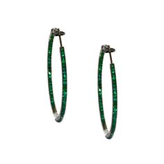 Mary Emerald Hoops in Sterling Silver -  Meredith Marks Designs  http://www.meredithmarks.com/LSECommerce/earrings?page=3