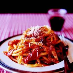 Bucatini with Onion, Bacon, and Tomato Recipe from Lidia Bastianich. Lidia's Recipes, Sauce Recipes, Pasta Recipes, Italian Recipes, Cooking Recipes, Italian Cooking, Drink Recipes, Recipies, Pasta All Amatriciana