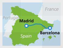 Mapa con la ruta del tren Madrid a Barcelona
