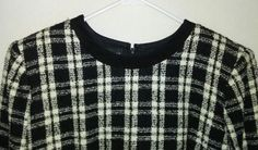 Donna Morgan Womens 10P Classic Dress Black & White Check Top Solid Black Skirt #DonnaMorgan #PartyCocktail