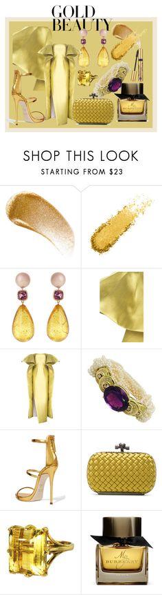 """Golden Girls:  Gold Beauty"" by queenbeezzer ❤ liked on Polyvore featuring BBrowBar, Brigid Blanco, Mark Bumgarner, Giuseppe Zanotti, Bottega Veneta, Gemjunky, Burberry and Estée Lauder"