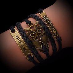 Owl Dream Love Leather Braided Bracelet