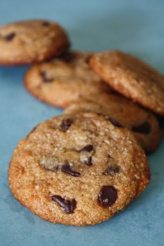 Chocolate Chip Oat and Rice Flour Cookies (also vegan)