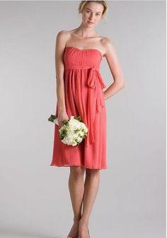 Discount Chiffon Strapless Sweetheart Empire Short Bridesmaid Dress Free Measurement