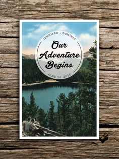 We've paired a vintage image of a rustic mountain lake with retro-inspired typography to create a perfect save the date for your adventure wedding.