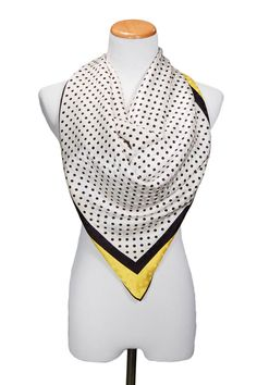 Black White Polka Dot, Carolina Herrera, Silk Scarf, Shawl, Yellow Border, Designer Accessories
