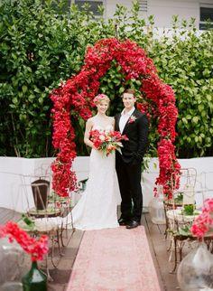bougainvillea ceremony arch // Rue Magazine Summer Wedding Inspiration