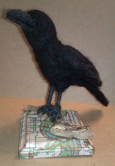 """Raven's View""; 2014; Mixed media & needle felted sculpture by Holly Boone of Polar Lights Art Studio. Currently located at the Alberta Craft Council. - SOLD! http://polarlightsart.wix.com/plas#!hollys-work/cq0w"