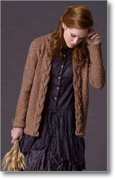 Rosewood Cardigan: A flattering open cardigan, it's worked in Reverse and Stockinette stitches, with the cabled panels added at the end.  -Rosemary Drysdale