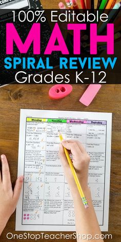 Get an ENTIRE YEAR of Math Spiral Review for Grades K-12. Plus, Learn why they are the most effective classroom resource for helping students master and retain standards. They are 100% EDITABLE and come with ANSWER KEYS. Use for Spiral Math Homework, Spiral Review Math Morning Work, Warm Ups, or even Math Center Activities | Common Core Aligned Math Resources | Math Activities | Math Spiral Review for Elementary, Middle School, and High School.
