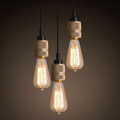 Hooked Industrial Brass Single Bare Edison Bulb Pendant Light #60W #brass #bronze