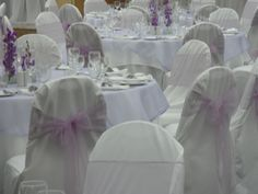 wedding reception decorated with purple & pink