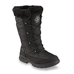 Kamik Women's NewYork2 Black Water-Resistant Mid-Calf Faux Fur Winter Snow Boot - Wide Width