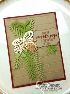 I am delighted to share a pretty card with you today, designed by my friend Cindee.  We made this card when we got together to stamp a few weeks ago...  she used the gorgeous Christmas Pines / Prett