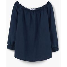Soft Fabric Blouse ($50) ❤ liked on Polyvore featuring tops, blouses, long sleeve tops, mango tops, mango blouse, blue top and blue blouse