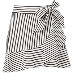 STRIPE RUFFLE MINI SKIRT (1,085 HNL) ❤ liked on Polyvore featuring skirts, mini skirts, short white skirt, white frilly skirt, white ruffle mini skirt, short skirts and white ruffle skirt
