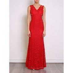 Vestido Fiesta Largo Encaje Rojo   Suen-Vestidos de fiesta