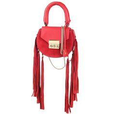 Сумка Salar Mimi Mini Fringe из замши и кожи красного цвета с бахромой