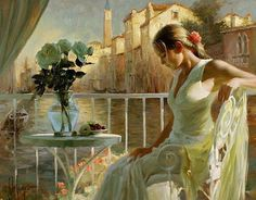 Vladimir Volegov also painted this. She's dropped her book and is just wondering about picking it up.
