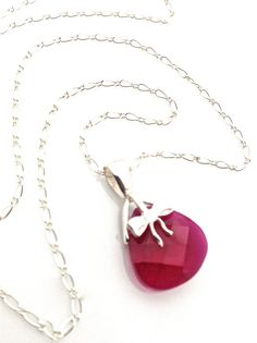Cute sterling silver necklace with red crystal and bow #red #pendant #crystal by #UrbanClink, $34.50